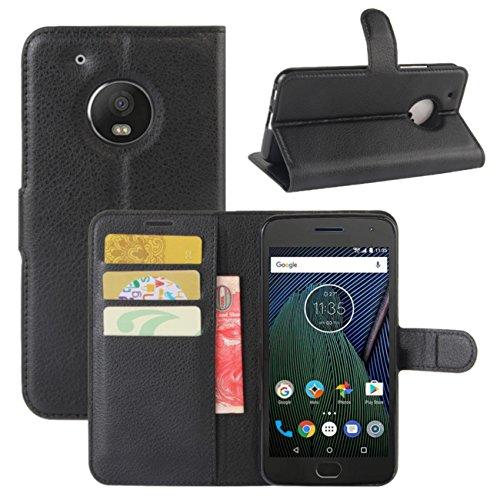 HualuBro Moto G5 Plus Hülle, Leder Lederhülle Brieftasche Etui Tasche Schutzhülle HandyHülle [Standfunktion] Leather Wallet Flip Case Cover für Motorola Moto G5 Plus (Schwarz)