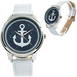 Zeigt originelle weiße Armband Leder-Marin