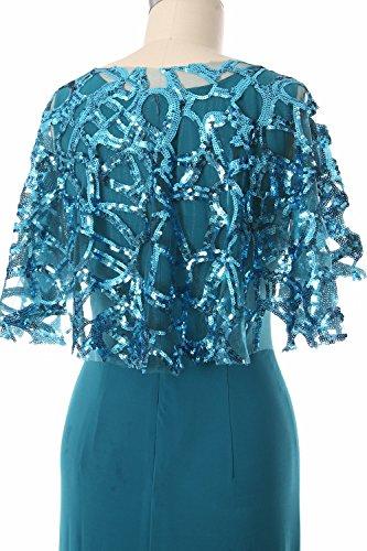 MACloth Women Classic Bateau Neckline Sheath Long Jersey Formal Evening Dress Turquoise