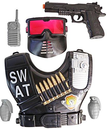 Nerd Kinder Kostüm (Kinder Kostüm Set Polizei Swat Kommando 6 Teilig Verkleidung)