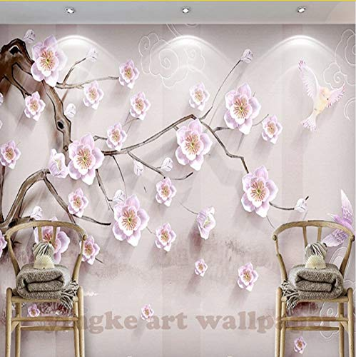 Kyzaa 3D Wallpaper Pflaumenblüte Hintergrund Wand 3D Wohnzimmer Schlafzimmer Tv Hintergrund Wandbild Tapete Für Wände 3 D Wandbild Tapete
