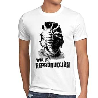 style3 Viva Facehugger T-Shirt Homme guevara aggripeur de visage revolution che xenomorph, Taille:S;Couleur:Blanc