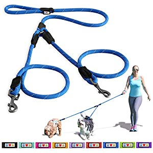 PAWTITAS Pet 2 Dog Leash Training 180 cm Leash Reflective Leash Paracord Leash Rope Leash Puppy Leash Dog Leash Training Leash Behavioral Leash for Two Dogs Leash Multiple Dog Leash 18