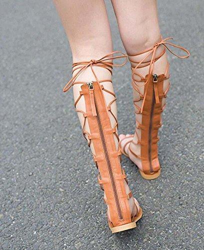 Stivali alti del ginocchio Stivali freddi Gladiatore Cavo Tacchi piatti sandali Scarpe romane scarpe da sera Donne Moda Peep Toe Toe della clip laccio Cavo Cerniera Low-Heel Scarpe casual Scarpe da pa Brown