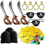 TUPARKA 57 STÜCKE Piraten Spiele Set Piratenschwert mit Zubehör für Party Supplies Dekorationen Kostüm Requisiten Zubehör