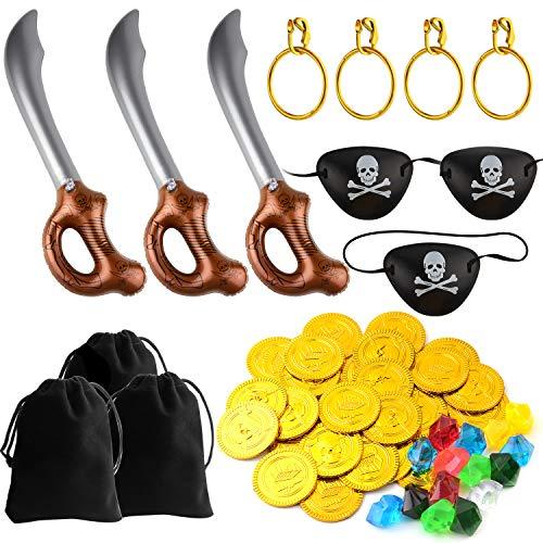 TUPARKA 57 STÜCKE Piraten Spiele Set Piratenschwert mit Zubehör für Party Supplies Dekorationen Kostüm Requisiten ()