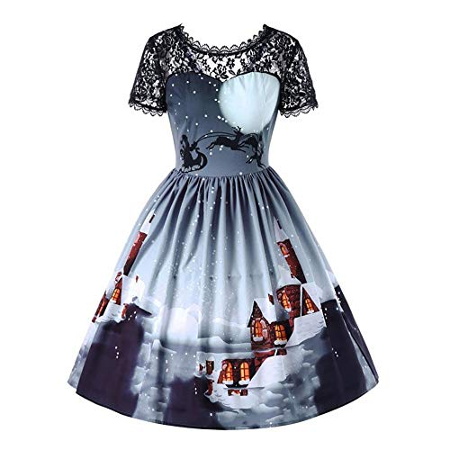 Flapper Dress with Short Sleeves Gatsby Party Women's Dress Style Girls Princess Fancy Dress Costume 1950er Vintage Polka Dots Pinup Retro Rockabilly Kleid ()
