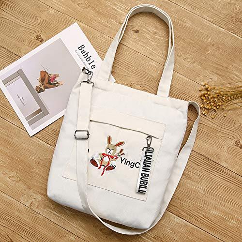 Payonr Faltbare Tasche mit großer Kapazität Weiblicher Kaninchen-Stickerei-hohe Kapazitäts-Segeltuch-Schulter-Beutel-Licht-Datei-Handtasche (weiß)