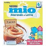 Nestlé Mio - Merenda al Latte Cacao, senza Glutine, da 6 Mesi - 3 confezioni da 4 Vasetti di plastica da 100 g [12 vasetti, 1200 g]