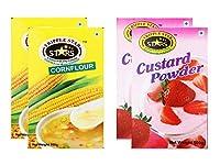 TRIPPLESTAR Corn Flour- 100 gm, Pack of 2 and Strawberry Custard Powder- 100 gm, Pack of 2