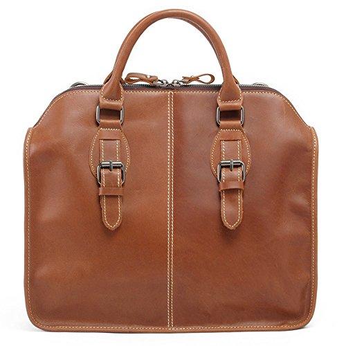 FRAZILL Herren Leder Aktentasche Herren Handtaschen Herren Umhängetasche Herren Laptop Tasche Hohe Qualität MK6013 (Bräunlich-Rot ) Braun