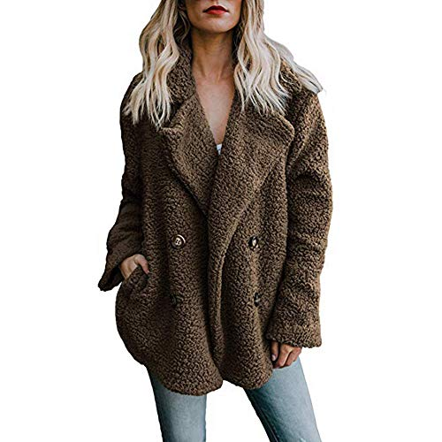 HUYURI Damen Casual Jacke Winter Warm Parka Outwear Mantel Frauen Fuzzy Faux Pelz Langarm Strickjacke Wintermantel Einfarbig Trenchcoat Umlegekragen Winterjacke Dicker Pelzkragen Jacken (Fuzzy Stiefel Schwarz)