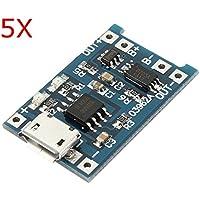 Ils - 5 Piezas de Litio Cargador USB Módulo de Batería con la Carga y la