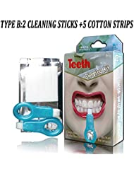 Nano Teeth Whitening Kit, Teeth Cleaning Whitener Brush, Tooth Stains Gel Strips, Smoke, Stubborn Stains and Plaque, Teeth Tools Kit (2 Cleaning Sticks and 5 Cotton Strips)