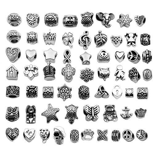 yukucharms 60 Perline in Argento Tibetano con Foro Grande per Braccialetti Europei, per Artigianato, Gioielli, Accessori per Braccialetti Fai da Te M190