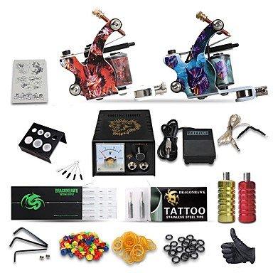 Tätowiermaschine Professionelles Tattoo Kit Gute Qualität Analoger Stromversorgung 2 X Griff Aus Edelstahl 50 Klassisch Alltag