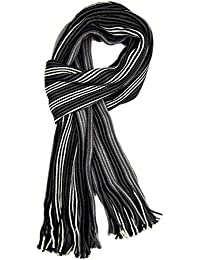 Mens Striped Scarf Deluxe Ribbed Knitted Scarves (Different Colours Available)