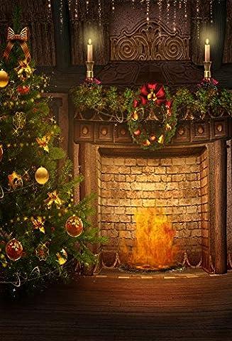 aaloolaa 1,5x 2.2m Vinyl Fotografie Hintergrund Foto Hintergründe Weihnachten Kränzen Leuchter Baum Kamin Innen Neugeborene Liebhaber Kinder Erwachsene Kid Baby Persönlichen Hochformat Szene Requisiten Video Shooting Studio