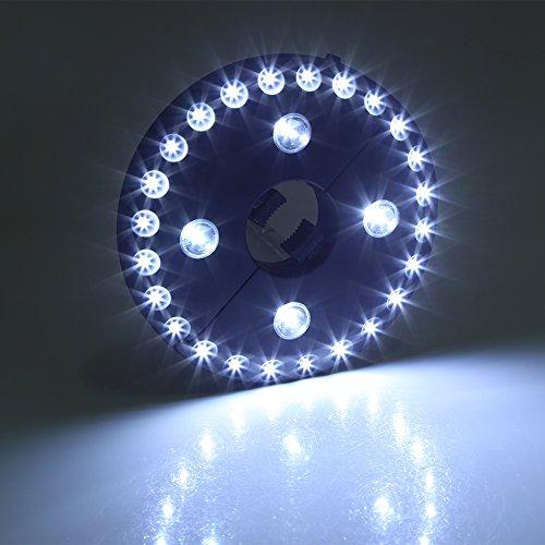 Paraguas LED paraguas ligero poste de luz tienda de campaña luz 28 LED Parasol luces paraguas inalámbrico iluminación (batería no incluida)(PLATA)