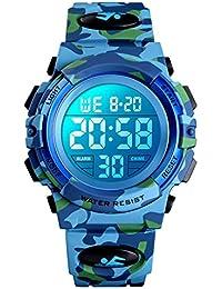 Reloj digital para niños, Chico Relojes deportivos impermeables para niño con alarma/cronómetro/12-24 h, Relojes de pulsera para niños jóvenes adolescentes LED electrónico - Camuflaje