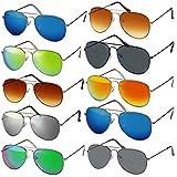 Pilotenbrille Verspiegelt Fliegerbrille Sonnenbrille Pornobrille Brille (36   silver-verspiegelt)