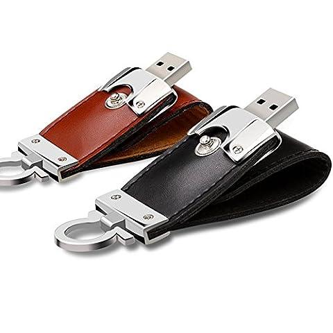 Nouvelle Marque Cuir PU 100% authentique pleine Capacité pilote Flash USB 2.0PEN DRIVE U disque Pendrive lecteur flash 2 Go