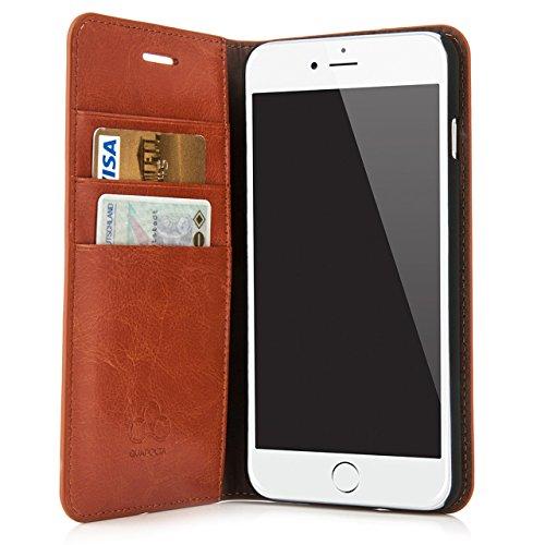 """Case für iPhone 8 Plus / iPhone 7 Plus (5,5"""") Thin Leather Hülle Liber Leder - Leder Tasche für Apple iPhone 7 / 8 Plus, Schutzhülle Book Case in schwarz von QUADOCTA® - Idealer Schutz für Diamantschw Tabacco"""