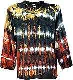 Guru-Shop Batikhemd, Hippie Boho Hemd, Festival Hemd, Herren, Schwarz/bunt, Synthetisch, Size:L, Männerhemden Alternative Bekleidung