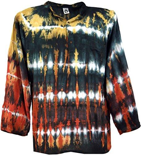 8b82bed4353e Guru-Shop Batikhemd, Hippie Boho Hemd, Festival Hemd, Herren, Schwarz bunt,  Synthetisch, Size S, Männerhemden Alternative Bekleidung