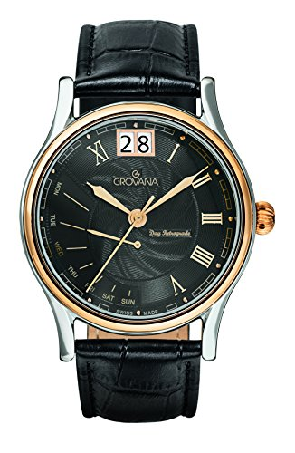 GROVANA 1729.1557 Men's Quartz Swiss Watch with Black Dial Analogue Display and Black Leather Strap