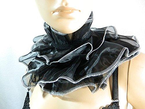 Kragen schwarz weiß Scarfette Halskorsett Mühlsteinkragen ()