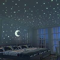 Stelle Fluorescenti E Grande Luna (24cm)   300 Pezzi Adesivi Da Parete  Fluorescenti Per La Camera Dei Bambini   Decorazione Della Stanza Del Fai  Da Te Per ...