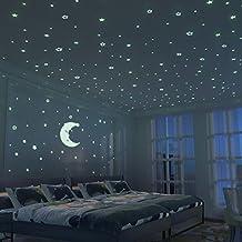 Brillante Estrellas and Large Moon Pegatina de Pared Para dormitorio de niños - 300 Más Brillante Estrellas - Luminosos, Fluorescentes y Brillantes en la oscuridad - DIY Decoración de la habitación Para Chico Niña Bebé - Casa Interior Mural - Idea de la decoración del juguete
