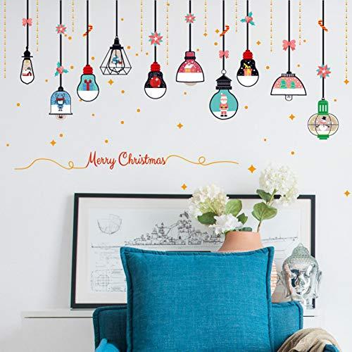 QTRYFHJI % Weihnachten Kronleuchter Blumen Wandaufkleber Schaufenster Glastür Wand DIY Home Decor New Year Weihnachten