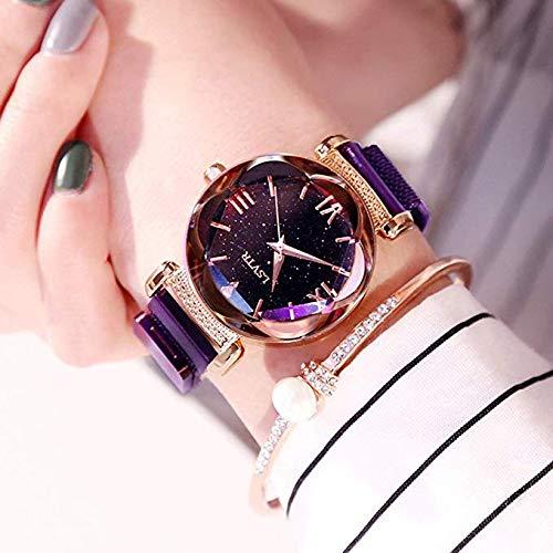 FSWH LT Damen Armbanduhr Stern Magnet Magnet Uhr Wasserdicht Uhr Star Watch Diamant Uhr Persönlichkeit Mode Uhr Cut Zifferblatt Sky Star Knit Band Armband Student Watch violett -