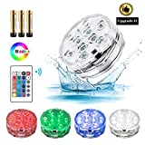 Hot Tub Accessories,Submersible Led Lights with IR Remote Controlled 10-LED RGB Underwater Spa Light Powered by AAA Battery (INCLUDED) for Vase Base,Pond,Swimming Pool and Home Decorations 1 Pack