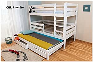 3ft Single Triple Bunk Bed made of Solid Pine Wood (White Wash)