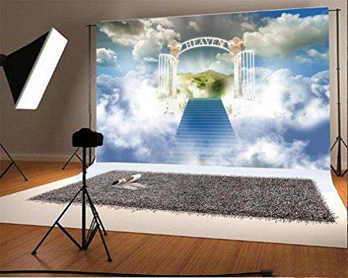 YongFoto 1,5x1m Vinyl Foto Hintergrund Traumland Märchen Treppe zum Himmel Heilige Lichter luxuriöses Tor blauer Himmel Weisse Wolke Fantasie Fotografie Hintergrund für Fotoshooting Portraitfotos Party Kinder Fotostudio Requisiten