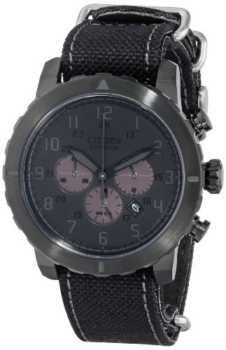 Citizen CA4098-06E Men's Military Eco-Drive Black Dial Black Nylon Strap Chronograph Watch - Citizen Eco Drive Mens Chronograph