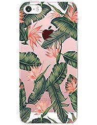 Jeper® Funda iPhone SE Carcasa iPhone 5S Silicona Transparente Protector TPU Ultra-delgado Anti-Arañazos Sandía Mármol Case para Teléfono Apple iPhone 5 Caso Caja