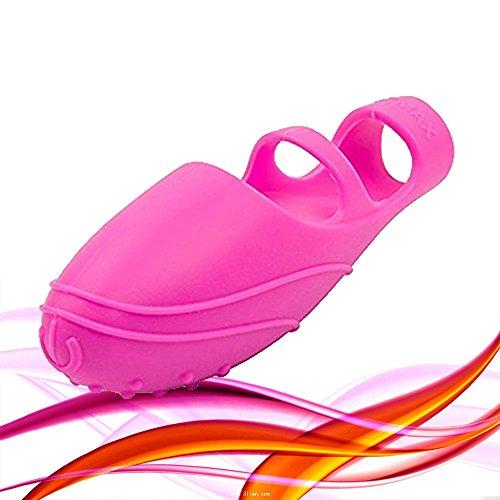 Juego de dedos con forma de pera venenosa y forma de zapatos de bailarina con masajeador - Rosa