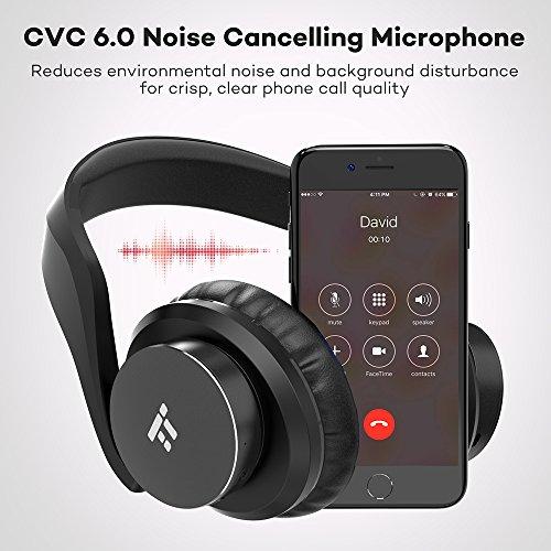 TaoTronics Bluetooth Kopfhörer Over Ear Headset 25 Stunden Spielzeit, Einstellbar mit CVC 6.0 Mikro, Zusammenklappbares Design mit on-Ear-Steuerung - 5