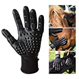 Teamwin Pet Grooming Gloves Massage Tool Hair Remover Five Fingers Rubber for Long Short Fur Dogs Cats Furniture (1 Pair for Left and Right Hand)