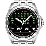 Reloj de Pulsera Personalizado para Hombre, a la Moda, Resistente al Agua, Diamond_354, Cool Retro Alien atacantes de Space Videogameu2026