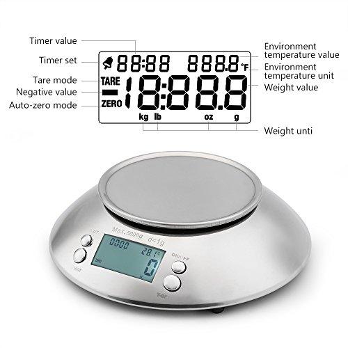 comprare on line Uten Bilancia da Cucina Digitale Elettronica 5kg con Ciotola in Acciaio Inossidabile da 2 Litri Display LCD, Color Argento prezzo