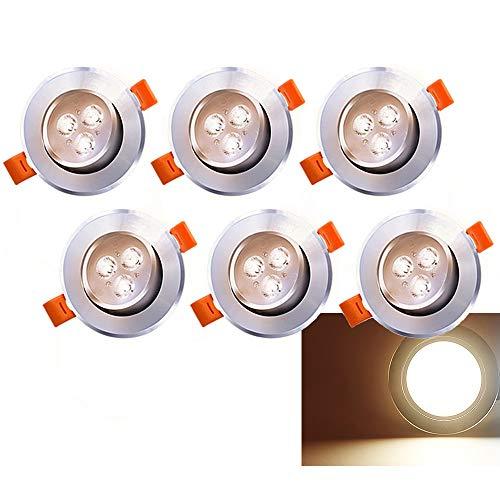 6 focos LED empotrables de 230 V/12 V 3 W, blanco cálido,...