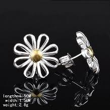 Skyllc® 925 joyería de plata de los pendientes de las mujeres del crisantemo