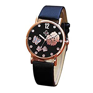 Womens quartz watches fashion butterfly printed analog clearance lady wrist watch female watches for Watches clearance