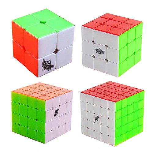 Preisvergleich Produktbild MZStech Cyclone Jungen Magic Cube Set 4er Pack 2x2x2 3x3x3 4x4x4 5x5x5 Stickerless Würfel True Color