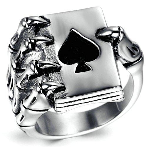 Gnzoe Uomo Acciaio inossidabile Anello, Gotico Cranio Mano Artiglio Poker Giocare Carta, Nero Argento, Dimensioni 20 - Verde Collana Cuore Jade